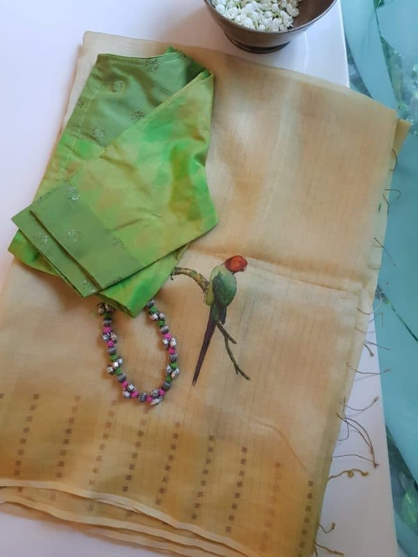 Cream bird print organza tissue saree