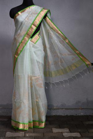 Cream green organza jamdani saree