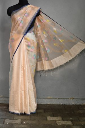 Cream organza jamdani saree