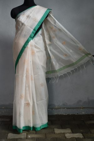 Cream teal organza jamdani saree