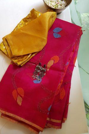 FUschia pink organza jamdani saree 2