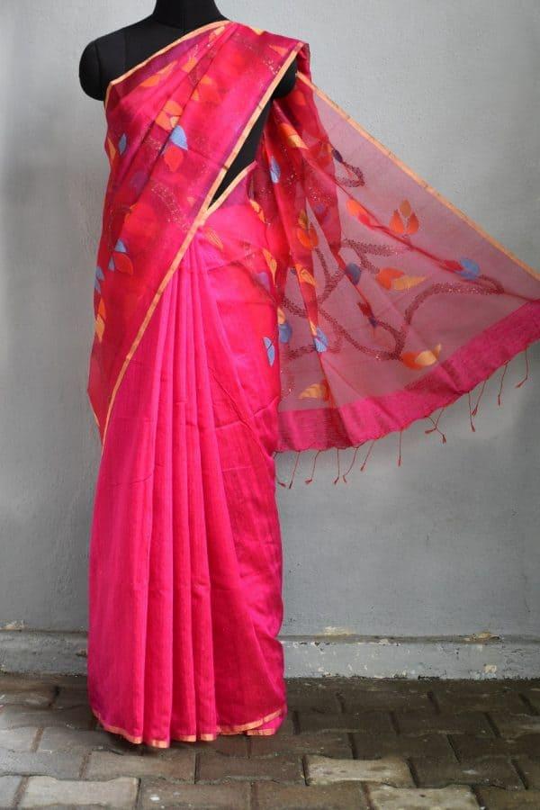 FUschia pink organza jamdani saree