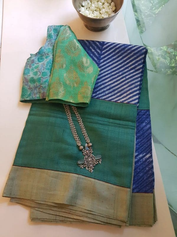 Green blue shibori tussar saree 1