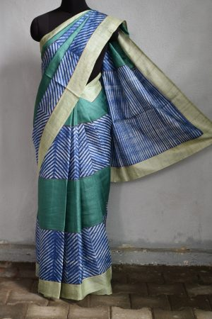 Green blue shibori tussar saree