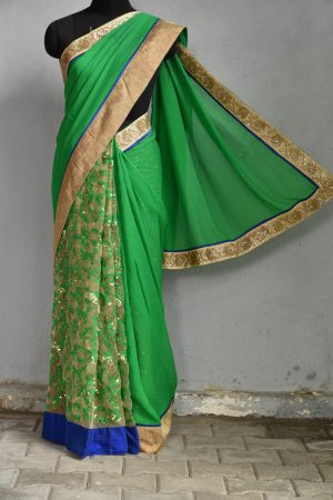 vGreen chiffon and net concept saree
