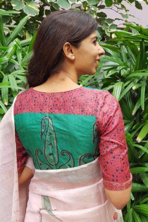 Green maroon printed tussar blouse