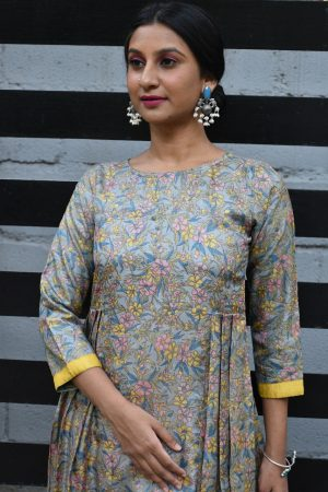 Grey blue printed tussar tunic with kutch work dupatta 1
