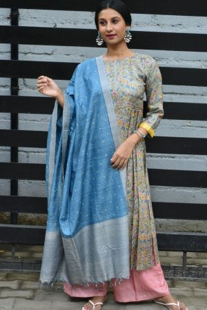 Grey blue printed tussar tunic with kutch work dupatta