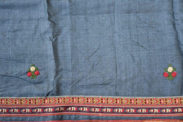 Grey hand embroidered tussar saree 1