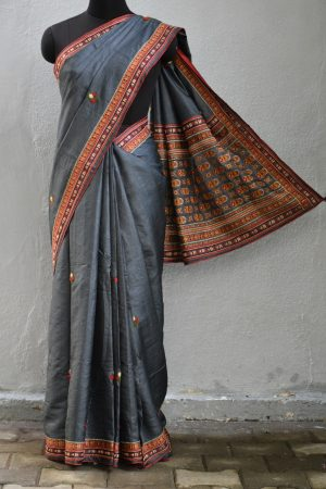 Grey hand embroidered tussar saree 2