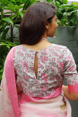 Grey pink cotton printed blouse