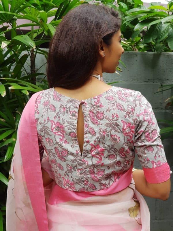 Grey pink cotton printed blouse