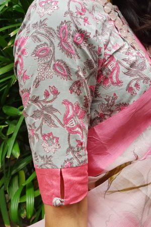 Grey pink printed cotton blouse sleeve