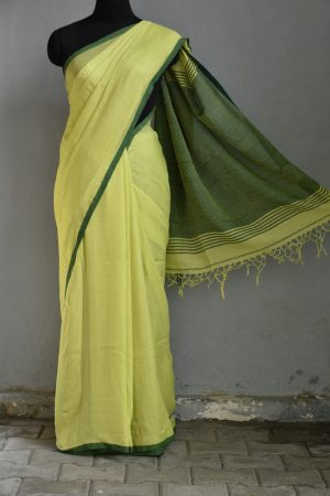 Lemon yellow linen missing checks saree