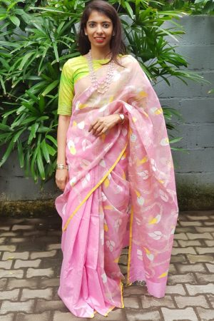 Light pink organza jamdani saree 1