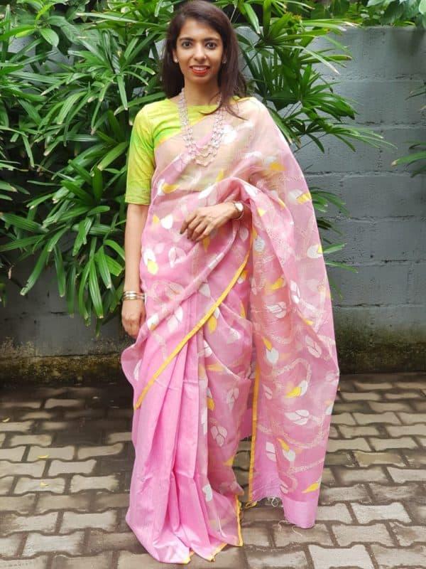 Light pink organza jamdani saree 1