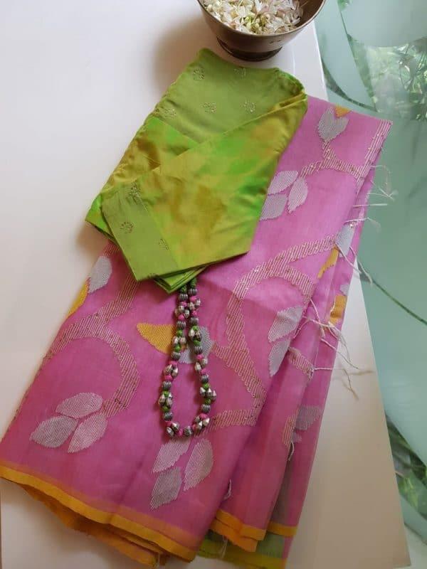 Light pink organza jamdani saree