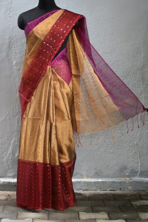 Magenta gold organza tissue sequins saree 1