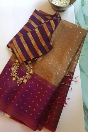 Magenta gold organza tissue sequins saree