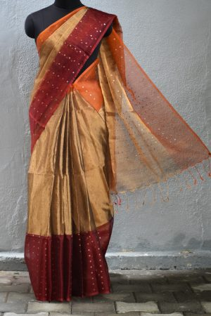 Maroon gold organza tissue sequins saree 1
