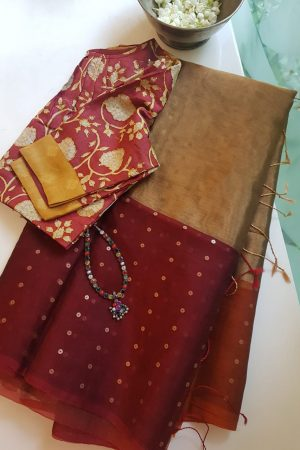 Maroon gold organza tissue sequins saree
