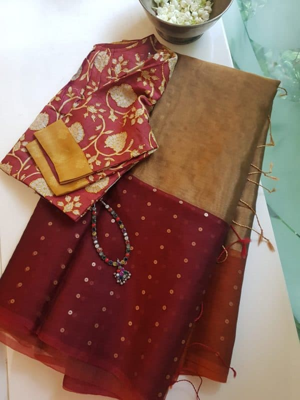 Maroon gold organza tissue sequins saree