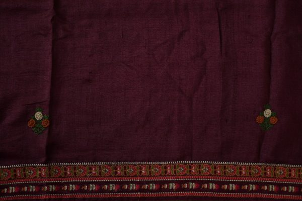 Brown hand embroidered tussar saree 2