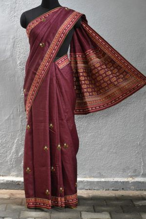 Brown hand embroidered tussar saree 1