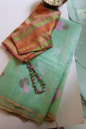 Mint green organza jamdani saree 2