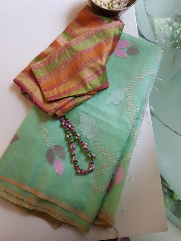 Mint green organza jamdani saree 2