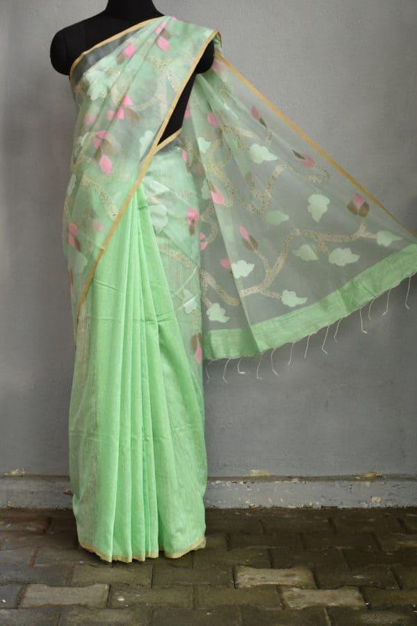 Mint green organza jamdani saree