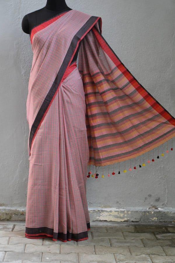 Multicolour checks handloom cotton saree