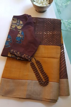 Mustard brown shibori tussar saree 1