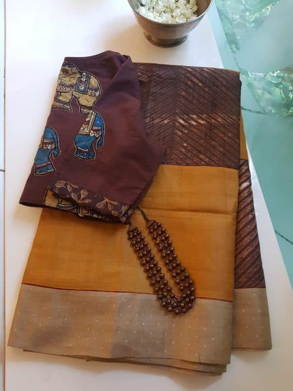 Mustard brown shibori tussar saree 1