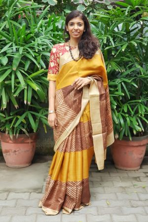 Mustard brown shibori tussar saree