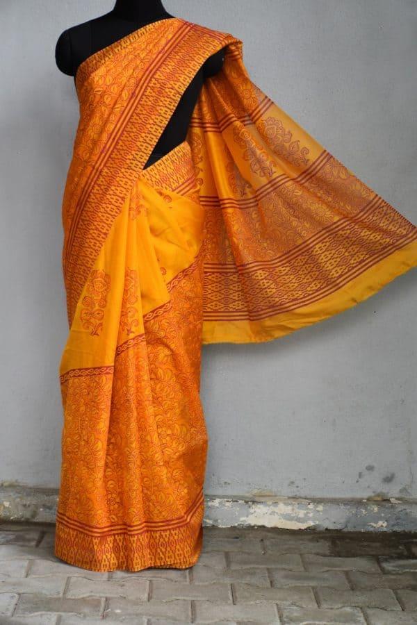 Orange netcrepe printed saree