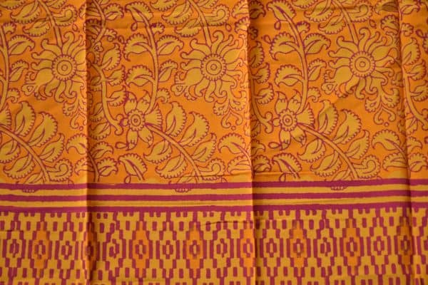 Orange netcrepe printed saree blouse