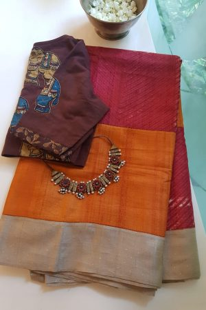 Orange red shibori tussar saree 1