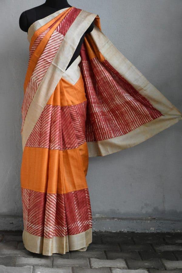 Orange red shibori tussar saree