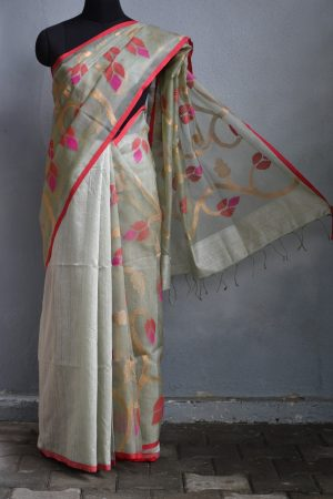 Pale grey organza jamdani saree
