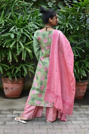 Pastel green pink tussar suit with kutch work dupatta 1