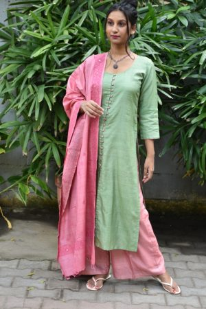 Pastel green pink tussar suit with kutch work dupatta