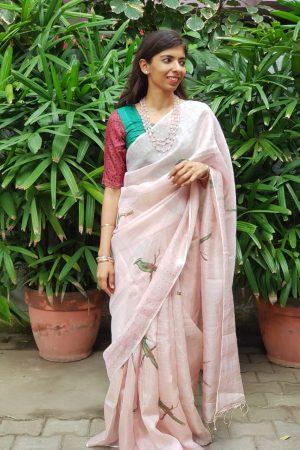 Pink bird print tissue organza saree