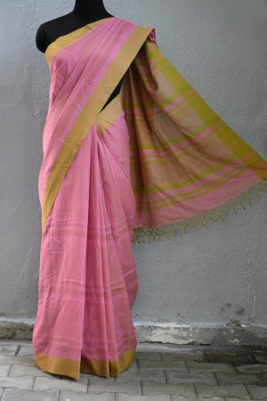 Pink golden stripes cotton saree