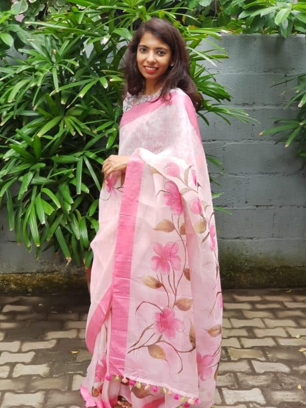 Pink organza floral print saree