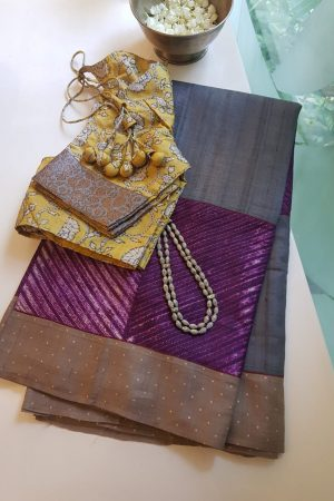 Purple grey shibori tussar saree