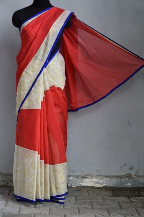 Red and cream tussar kota concept saree
