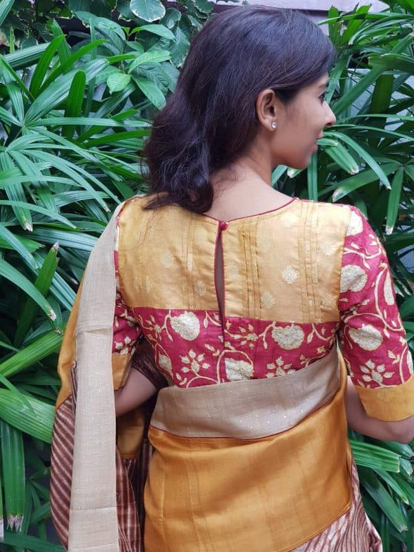 Red kantha work blouse back