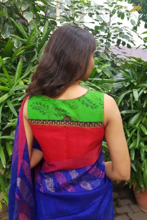 Red silk kalamkari blouse
