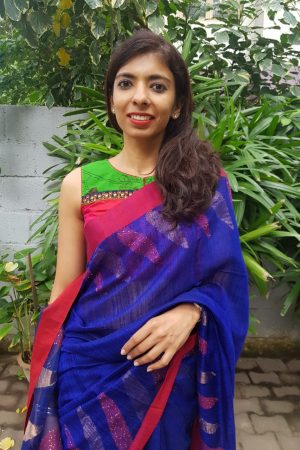 Red silk kalamkari blouse front